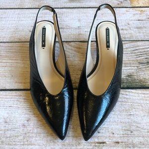 ZARA | Black Patent Leather Slingback Kitten Heels